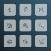 Eco Icons Line Style Set With Eco Research, Eco Food, Green World And Other Magnifying Elements. Iso poster