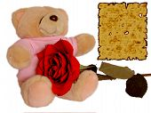 Cuddle Doll Holding Rose With Love Letter poster