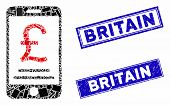 Mosaic British Pound Mobile Payment Pictogram And Rectangular Britain Rubber Prints. Flat Vector Bri poster