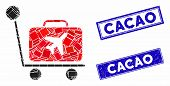 Mosaic Luggage Trolley Pictogram And Rectangle Cacao Stamps. Flat Vector Luggage Trolley Mosaic Pict poster