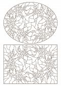 A Set Of Contour Illustrations Of Stained Glass With Flowers, Oval And Rectangular Image In The Fram poster