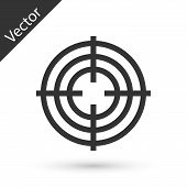 Grey Target Sport For Shooting Competition Icon Isolated On White Background. Clean Target With Numb poster