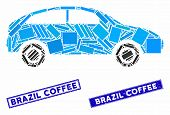 Mosaic Hatchback Pictogram And Rectangle Brazil Coffee Stamps. Flat Vector Hatchback Mosaic Pictogra poster