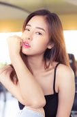 Portrait Young Asian Woman. Beautiful Asian Lady Has Nice Skin And Beautiful Face. Glamour Asia Girl poster