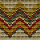 Cozy Zig Zal Lines Knitted Texture Geometric Seamless Pattern. Rug Hosiery Textile Print. Norwegian  poster