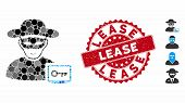 Collage Computer Hacker Icon And Rubber Stamp Watermark With Lease Phrase. Mosaic Vector Is Formed W poster
