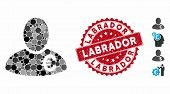 Mosaic Euro Financier Icon And Grunge Stamp Seal With Labrador Caption. Mosaic Vector Is Created Wit poster