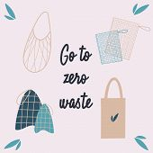 Bag Set, Zero Waste. The Concept Of Nature Conservation And Zero Waste. String Bag, Bags For Fruits  poster