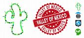 Mosaic Cacti Icon And Grunge Stamp Seal With Valley Of Mexico Text. Mosaic Vector Is Created With Ca poster