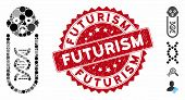 Mosaic Baby Genetic Analysis Icon And Rubber Stamp Seal With Futurism Phrase. Mosaic Vector Is Forme poster