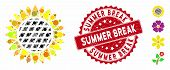 Mosaic Sunflower Flower Icon And Corroded Stamp Seal With Summer Break Text. Mosaic Vector Is Compos poster