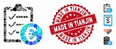 Mosaic Euro Purchase Pad Icon And Grunge Stamp Watermark With Made In Tianjin Text. Mosaic Vector Is poster