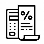 Check With Mathematical Interest Calculations Icon Vector. Outline Check With Mathematical Interest  poster