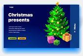Website Christmas Presents. Website Providing Of Christmas Presents. Concept Of Landing Page For Chr poster