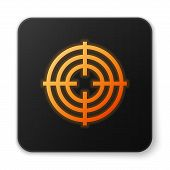 Orange Glowing Neon Target Sport For Shooting Competition Icon Isolated On White Background. Clean T poster