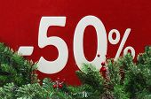 Winter Sale 50 Percent.red Background With Fir Branches. -50%  Discount. Winter Sale. Christmas Sale poster