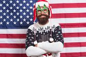 Decor And Accessory. Man Wear Knitted Sweater. American Tradition. Santa Claus On American Flag. Xma poster