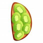 Sliced Kiwi Toast Icon. Cartoon Of Sliced Kiwi Toast Vector Icon For Web Design Isolated On White Ba poster