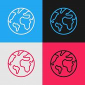 Color Line Earth Globe Icon Isolated On Color Background. World Or Earth Sign. Global Internet Symbo poster