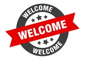 Welcome Sign. Welcome Black-red Round Ribbon Sticker poster