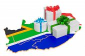 Gift Boxes On The South Africa Map. Christmas And New Year Holidays In South Africa Concept. 3d Rend poster