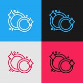 Color Line Washing Dishes Icon Isolated On Color Background. Cleaning Dishes Icon. Dishwasher Sign.  poster