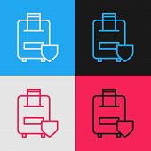 Color Line Travel Suitcase Icon Isolated On Color Background. Traveling Baggage Insurance. Security, poster