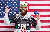 Celebrate Today. American Man Celebrate Winter Holidays. Patriotic Santa On Stars And Stripes Backgr poster