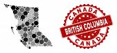 Mosaic British Columbia Province Map And Circle Seal Stamp. Flat Vector British Columbia Province Ma poster