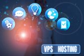 Conceptual Hand Writing Showing Vps Hosting. Business Photo Showcasing Mimics A Dedicated Server Wit poster