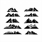 Mountain Vector, Mountain Logo, Hill Logo, Mountain Symbol, Mountain Icon, Mountain Logo Template, M poster