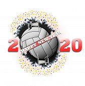 Happy New Year 2020 And Volleyball Ball With Volleyball Players And Fans. Creative Design Pattern Fo poster