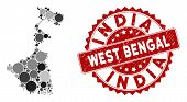 Mosaic West Bengal State Map And Circle Seal Stamp. Flat Vector West Bengal State Map Mosaic Of Rand poster