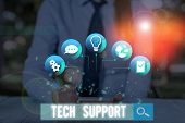 Conceptual Hand Writing Showing Tech Support. Business Photo Showcasing Advising And Troubleshooting poster