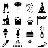 stock photo of birthday-cake  - Party and celebration icon set in black - JPG