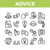 Advice Help Assistant Collection Icons Set Vector Thin Line. Human Silhouette And Call, Internet Onl poster