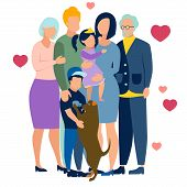 Family Idyll. In Minimalist Style. Flat Isometric Raster poster