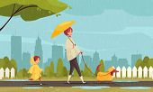 Walking Dog In Bad Weather Flat Composition With Mother Child Dachshund In Raincoats Cityscape Backg poster