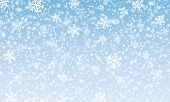 Snow Background. Vector Illustration. Winter Snowfall. White Snowflakes On Blue Sky. Christmas Backg poster