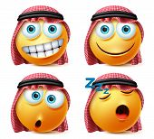 Saudi Arab Emoticons Vector Set. Saudi Arab Face Emojis With Sleeping, Surprise And Happy Expression poster