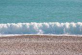 Beautiful Sea Waves. Ocean Coast. Rest On The Sandy Coast. Sea Foam. The Wave Is Breaking On The Sho poster