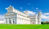 Pisa Cathedral Duomo Cattedrale And Leaning Tower Torre On Piazza Del Miracoli Square Green Grass La poster