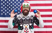 Great American Christmas. Happy Santa On American Flag Background. Bearded American Man With Xmas Tr poster