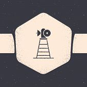 Grunge Antenna Icon Isolated On Grey Background. Radio Antenna Wireless. Technology And Network Sign poster