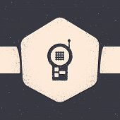 Grunge Baby Monitor Walkie Talkie Icon Isolated On Grey Background. Monochrome Vintage Drawing. Vect poster