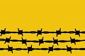 Barbed Wire. Black Silhouette Of A Prison Fence. Steel Line With Sharp Spikes. Metal Border Glyph Pi poster