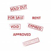 Real Estate Stamp Pack For Realtors And Real Estate Agents, Stamp Labels For Home Sales Rubber Vecto poster