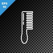 White Line Hairbrush Icon Isolated On Transparent Dark Background. Comb Hair Sign. Barber Symbol. Ve poster