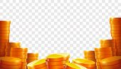 Stack Of Coins. Gold Coins. Lots Money. Casino Coin Cash Or Bank Currency Investment Heap. Place For poster