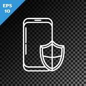 White Line Smartphone, Mobile Phone With Security Shield Icon Isolated On Transparent Dark Backgroun poster